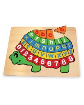 """Puzzle en bois \\""""ABC tortue\\"""" Puzzles  –Serpent à Lunettes"""