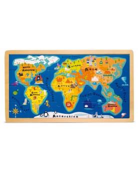 """Puzzle Cadre \\""""Carte du monde\\"""" Puzzles  –Serpent à Lunettes"""
