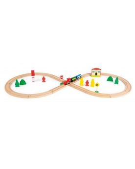 Chemin de fer en bois avec gare Circuits et véhicules  –Serpent à Lunettes