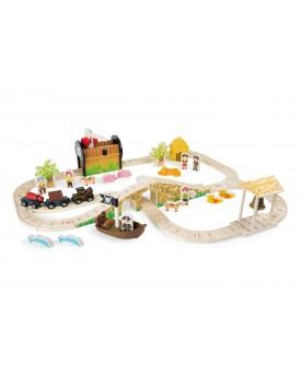 """Chemin de fer \\""""Ile des pirates\\"""" Circuits et véhicules  –Serpent à Lunettes"""