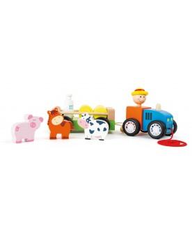 Tracteur en bois avec animaux La ferme  –Serpent à Lunettes
