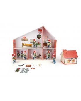 """Maison de poupée \\""""caserne de pompiers\\"""" en carton  Au volant  –Serpent à Lunettes"""
