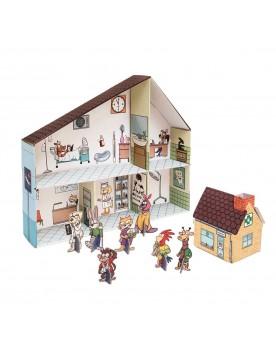 """Maison de poupée en carton \\""""Clinique vétérinaire\\"""" Animaux  –Serpent à Lunettes"""