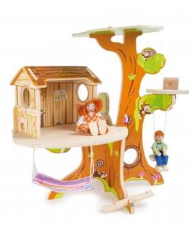 Cabane dans l'arbre avec poupées Poupées et peluches  –Serpent à Lunettes