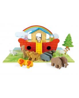 Arche de Noé en bois, ensemble de jeu Zoo, arches et crèches  –Serpent à Lunettes