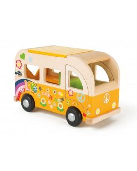 Bus de jeu hippie en bois Au volant  –Serpent à Lunettes