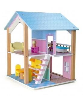 """Maison de poupée à 2 étages, tournante \\""""Toit bleu\\"""" Poupées  –Serpent à Lunettes"""