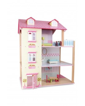 Maison de poupée Toit rose 3 étages, tournante Poupées  –Serpent à Lunettes