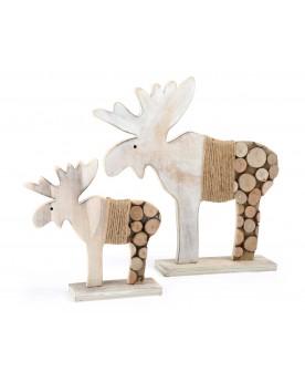 """Élan de décoration en bois \\""""Rondins d´arbre\\"""" Noël  –Serpent à Lunettes"""