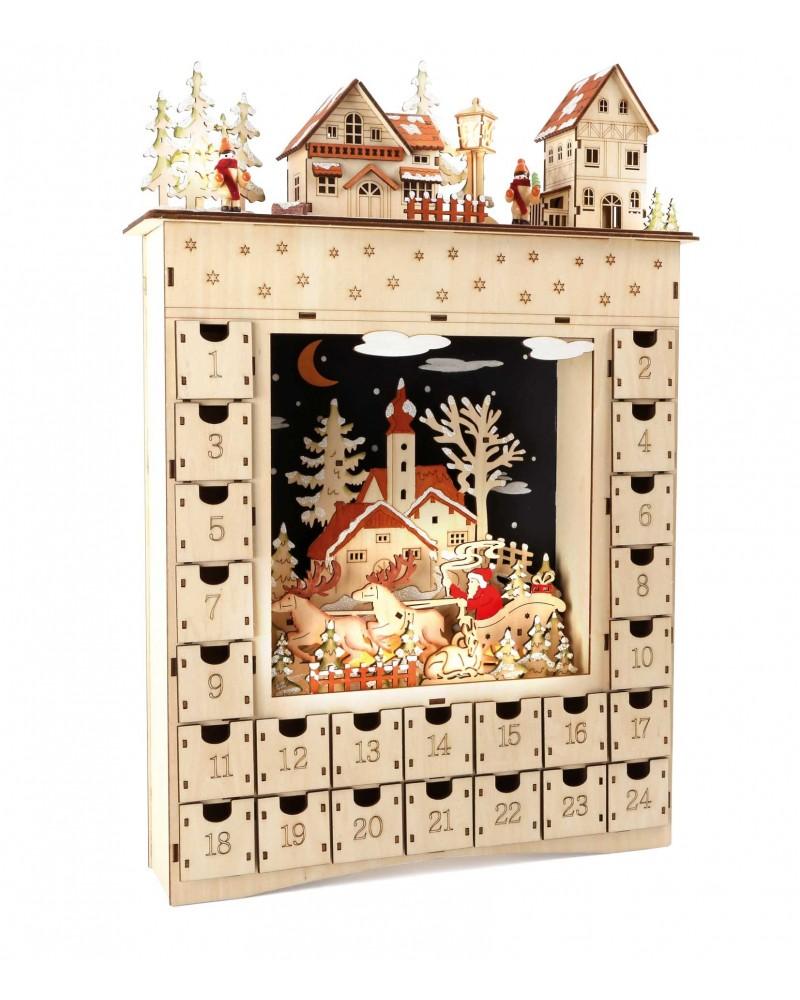 Calendrier de l´Avent en bois «Rêve hivernal» Noël  –Serpent à Lunettes