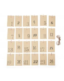 Calendrier de l'Avent Sachets en papier, nature Noël  –Serpent à Lunettes