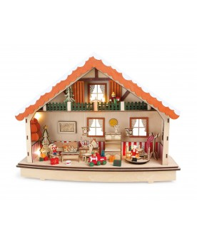 """Boîte à musique et lampe en bois \\""""Maisonnette\\"""" Noël  –Serpent à Lunettes"""