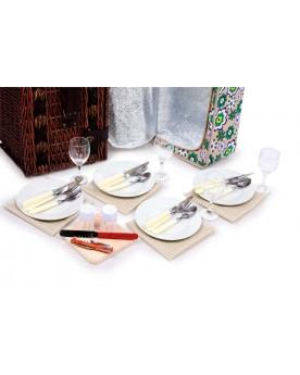 Panier pique-nique «Deluxe» Vaisselle  –Serpent à Lunettes