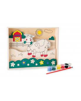 """Image à colorier en bois \\""""Vache\\"""" Tampons, peinture, création  –Serpent à Lunettes"""