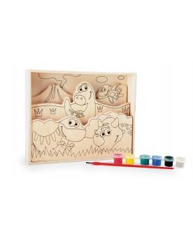 """Images à colorier en bois \\""""Mes premiers dinos\\"""" Tampons, peinture, création  –Serpent à Lunettes"""
