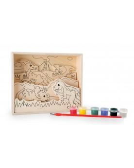 """Image à colorier en bois """"Dinosaures"""""""" Tampons, peinture, création  –Serpent à Lunettes"""