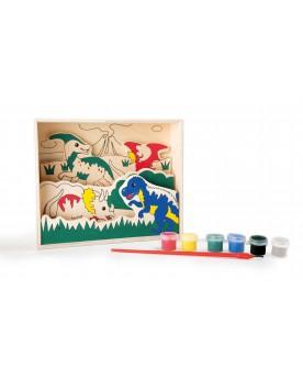 """Image à colorier en bois \\""""Dinosaures\\""""\\"""" Tampons, peinture, création  –Serpent à Lunettes"""