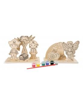 """Images à colorier en bois \\""""Pirates et fées\\"""" Tampons, peinture, création  –Serpent à Lunettes"""