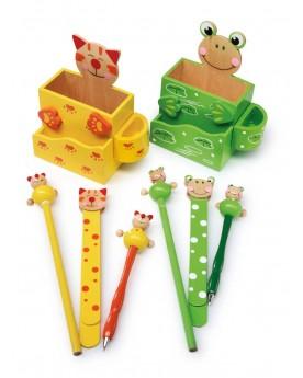 Boîtes à crayons «Chat et grenouille» Papeterie et fournitures scolaires  –Serpent à Lunettes