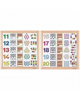 Tableaux pour apprendre à compter de 11 à 20 Lire, écrire, compter  –Serpent à Lunettes