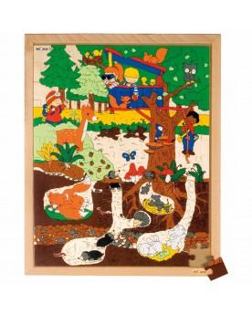 """Puzzle 120 pièces \\""""Au-dessus et au-dessous\\"""" La forêt Puzzles  –Serpent à Lunettes"""