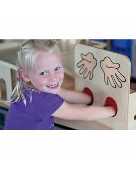 Boîte en bois pour activités tactiles Voir, toucher, écouter  –Serpent à Lunettes