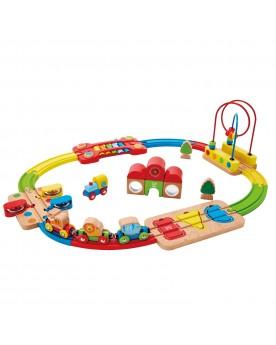 Chemin de fer puzzle arc-en-ciel Circuits et véhicules  –Serpent à Lunettes
