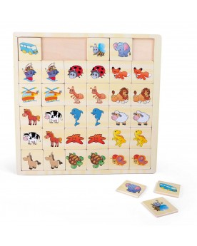"""Puzzle-mémo \\""""Véhicules et animaux\\"""" Puzzles  –Serpent à Lunettes"""
