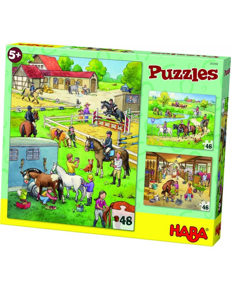 """3 puzzles 48 pièces """"Centre équestre"""" Puzzles  –Serpent à Lunettes"""