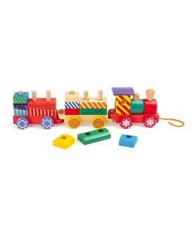 Train multicolore Jouets à tirer et pousser  –Serpent à Lunettes